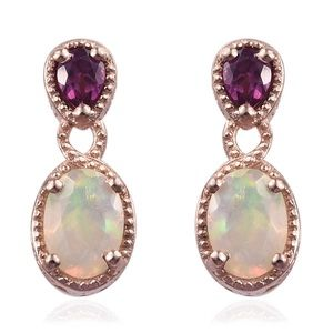 Welo opal & purple garnet earrings